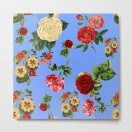 Blue vintage roses Metal Print