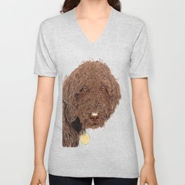 Chocolate Labradoodle Unisex V-Neck