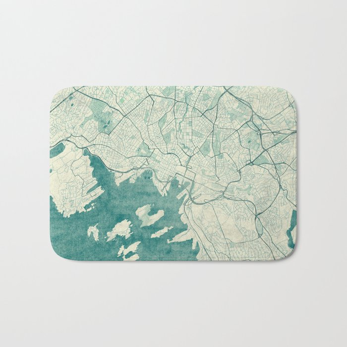 Oslo Map Blue Vintage Bath Mat