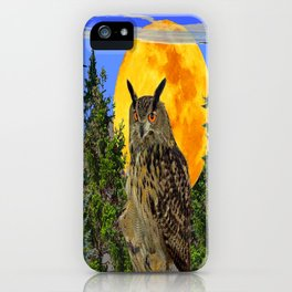 OWL WITH FULL MOON & TREES NATURE BLUE DESIGN iPhone Case