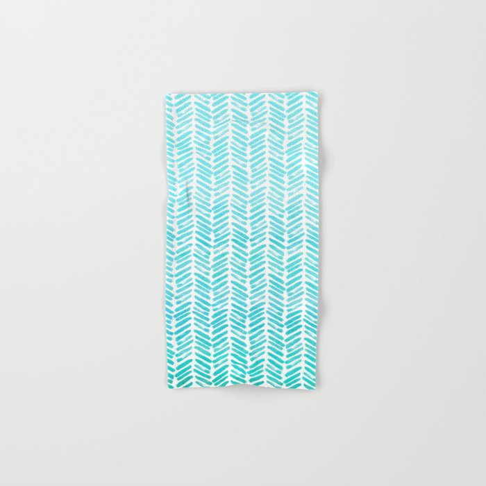 Handpainted Chevron pattern-small-light green and aqua teal Hand & Bath Towel