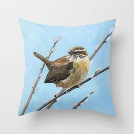 Brown House Wren Bird Art Throw Pillow