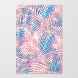 Palm Leaves - Iridescent Pastel Canvas Print