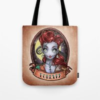pinup Tote Bags featuring FOREVER pinup by Tim Shumate
