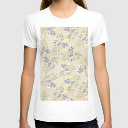 Vintage ivory linen blue yellow gold floral pattern T-shirt