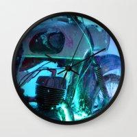 motorbike Wall Clocks featuring Ice Motorbike 1 by Marko Köppe