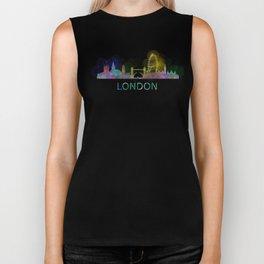 London UK Skyline HQ watercolor Biker Tank