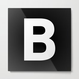Letter B (White & Black) Metal Print