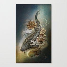 Koi and Lotus Canvas Print
