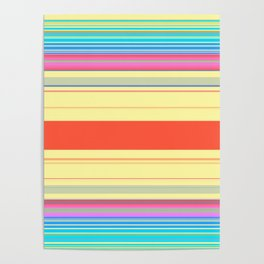 Colorful Bright Spring Stripes Poster