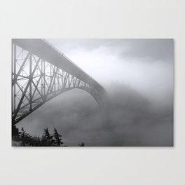 Foggy Deception Pass, Washington State Canvas Print