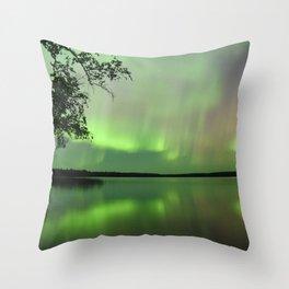 Aurora Borealis Reflection Throw Pillow