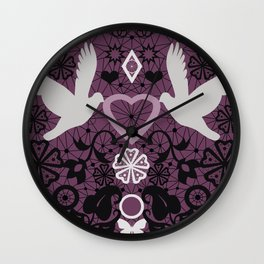 Lace Valentines day print with birds and heart Wall Clock
