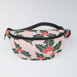 Christmas Holly Leaves Fanny Pack