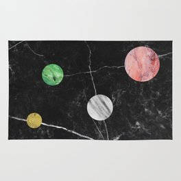 Black Marble with Polka Dots Rug
