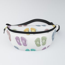 Happy coloured flip flops summer vibes Fanny Pack