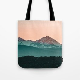 Grainy Sunset Mountain View // Textured Landscape Photograph of the Beautiful Orange and Blue Skies Tote Bag