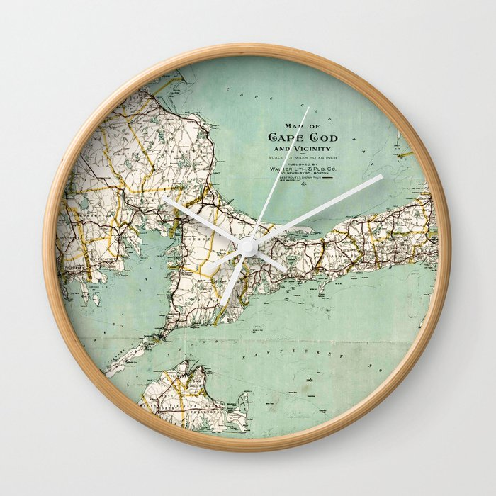 cap cod and vicinity map wall clock by mapmaker society6
