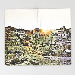 Sassi di Matera: view with sun Throw Blanket