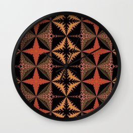 Warm Quilt Pattern Wall Clock