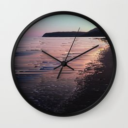 Glitched Sunset on the Ocean Wall Clock