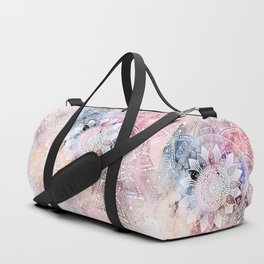 Whimsical white watercolor mandala design Duffle Bag