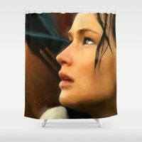 katniss Shower Curtains featuring Katniss by Kate Dunn