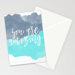 You are Amazing Water Color Blues Stationery Cards