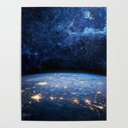 Earth and Galaxy Poster