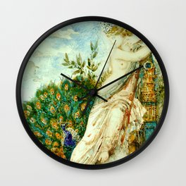 """Gustave Moreau """"The Peacock Complaining to Juno"""" Wall Clock"""