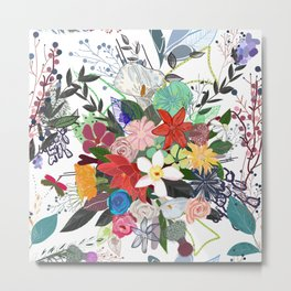 Colorful mix flower bouquet pattern white background Metal Print