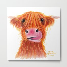 Scottish Highland Cow ' GaRLiC ' by Shirley MacArthur Metal Print