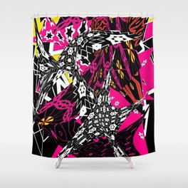 Abstract in callage bright colors and layers of patterns Shower Curtain