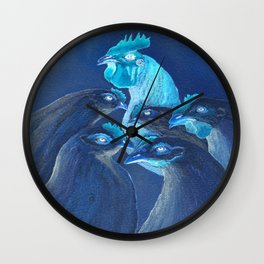 Henpecked In Blue Wall Clock