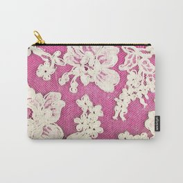 pink lace-photograph of vintage lace Carry-All Pouch