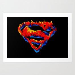 Superman in Flames Art Print