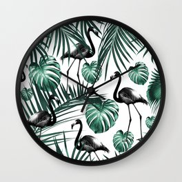 Tropical Flamingo Pattern #6 #tropical #decor #art #society6 Wall Clock