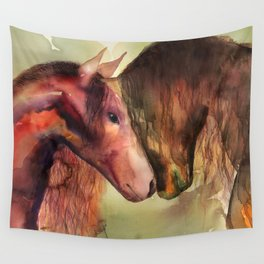Two Horses watercolor painting Wall Tapestry