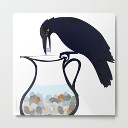 The Crow and the Pitcher Metal Print