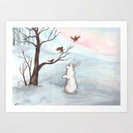 Rabbit in the Winter Snow Art Print