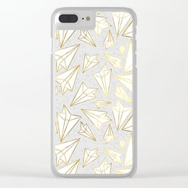 Paper Airplanes Faux Gold on Grey Clear iPhone Case