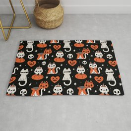 Halloween Kitties (Black) Rug