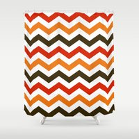 thanksgiving Shower Curtains featuring Thanksgiving Chevron by Designs By Misty Blue (Misty Lemons)