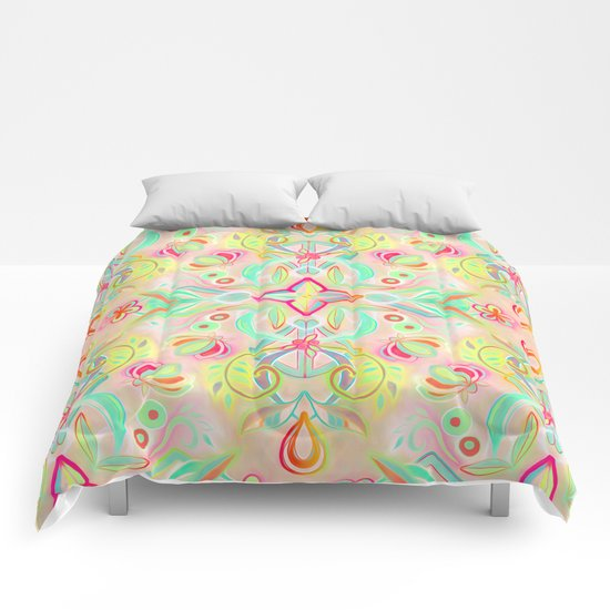 Soft Neon Pastel Boho Pattern Comforters
