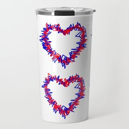 Blue & Red Scribble Heart Pattern Print Travel Mug