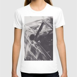 Triumph Spitfire, Elegant Black & White photo of an aerodynamic chassis from a Supercar T-shirt