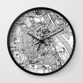 Vintage Map of Warsaw Poland (1914) BW Wall Clock