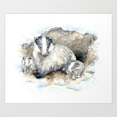 For the Badgers: Mum & Cubs Art Print