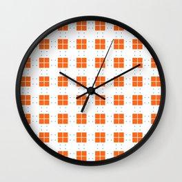 Orange Blue Cell Checks Wall Clock