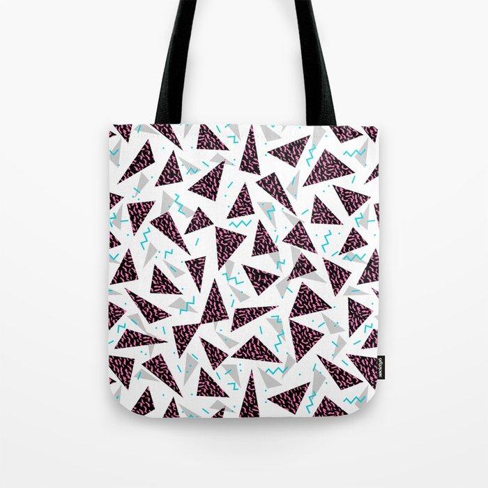 Trendy 80's style geometric triangle retro cool neon pattern art print affordable college dorm decor Tote Bag